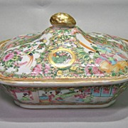 Rose Medallion Covered Vegetable Dish