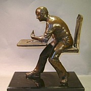 "Sculpture in Bronze ""Gin Player II"" by Martin Glick, signed"