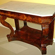 19th c. Empire Mahogany Marble Top Server or Console