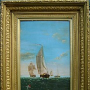 """Oil Painting """"Sailing Vessels"""" signed JKB 1898"""