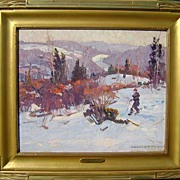 William Lester Stevens Oil Painting Winter Landscape 1922