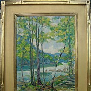 Peter Bela Mayer Oil Painting Landscape with Lake & Figures