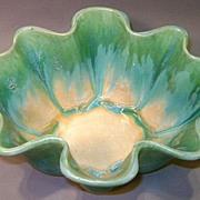 "Fulper Green and Blue Drip Glaze 5"" Large Fluted Dish"