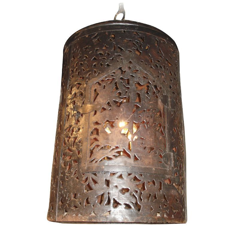 Reticulated Hanging Lantern or Chandelier with Fanciful Decoration and Hinged Door