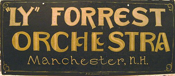 """Vintage """"Ly"""" Forrest Orchestra, Manchester, NH Sign"""