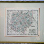 19th c Colton's Steel Engraved Hand-Colored Map of Ohio
