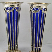 Pair of Sheffield Silverplate Vases with Cobalt Blue Glass Liners