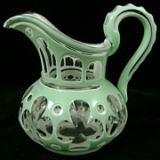 19th c. 2-Color Cut Overlay Glass Pitcher - Dorothy Lee Jones