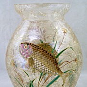 SOLD Moser Enameled Glass Vase with Fish & Plants