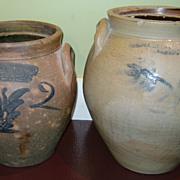 SALE 2 T.D. Chollar Blue Decorated Stoneware Ovoid Crocks