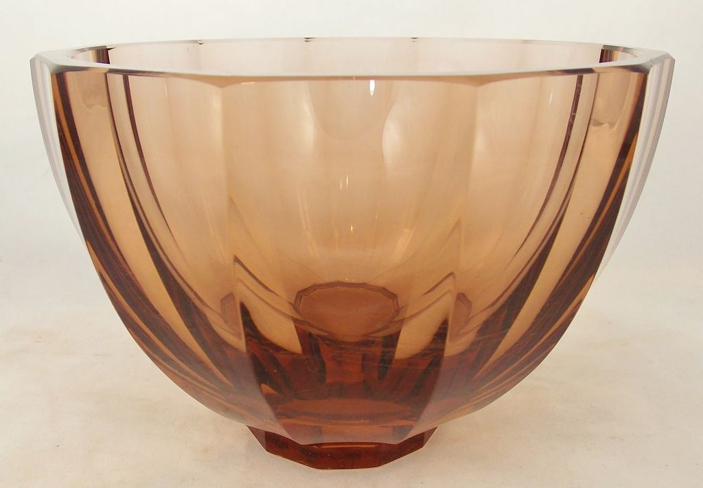 """Moser 6-1/2"""" Amber Faceted Glass Bowl c. 1920"""
