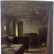 Eric Pape Oil Painting of Interior Scene