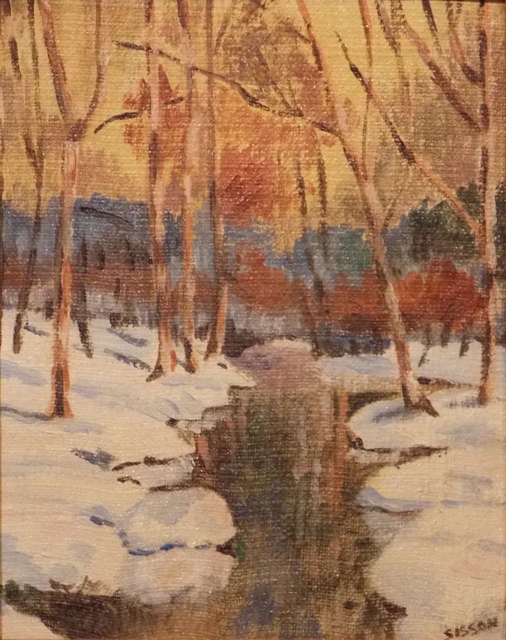 """Oil Painting Winter Forest Landscape Signed """"Sisson"""""""