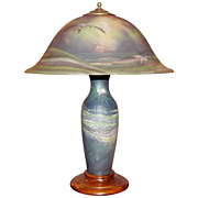 SOLD Pairpoint Reverse-Painted Glass Seagull Lamp