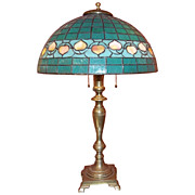 Hubbell Art Deco Brass Lamp with Green Glass Shade