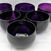 19th c. Amethyst Glass Finger Bowls, Set of 6