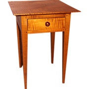 Jason Samuel Bench Made Tiger Maple One Drawer Stand in the Country Hepplewhite style