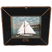 SOLD 19th c Ship Diorama with Rope Bordered Frame, probably Coastal Maine