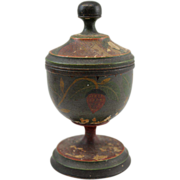 19th c Joseph Lehn Treenware Painted Folk Art Saffron Cup Strawberry Decoration
