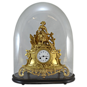19th c French Dore Bronze Clock with Dome