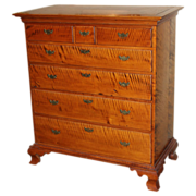 SOLD 18th c Chippendale Tiger Maple Chest