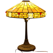 Leaded Glass Arts & Crafts Lamp with Jeweled Shade