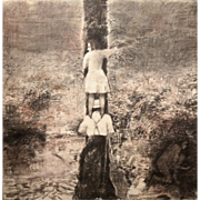 "Steven Trefonides Conte Crayon and Charcoal titled ""The Nest"" 1982"