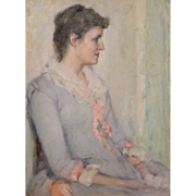 Robert Lewis Reid Oil Painting Portrait of Lucy Douglas Gillett, Westfield MA 1890