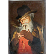 19th c Hutschenreuther Painted Porcelain Plaque of a Man Smoking signed Wagner