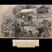 "SOLD James E.Taylor Watercolor / Gouache of General Custer ""Involuntary Ride"" Civil War"