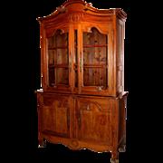 18th c French Fruitwood Stepback Cupboard