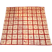 SALE PENDING 19th century Redwork Story Quilt by Irene Williams