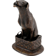 Barbara Faucher Signed Bronze Sculpture  Dog in a Basket