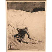 Allen W. Jackson Pencil Signed Drypoint Print Downhill Skier