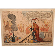 Early 19th c English Fire Theme Print Smoak Jack The Alarmist