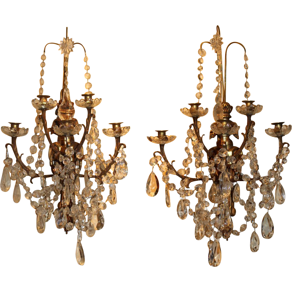 Large Crystal Wall Sconces : Pair of Large Crystal & Bronze Wall Sconces