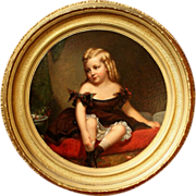 Spectacular 19th century Portrait of a Young Girl in a Giltwood Frame