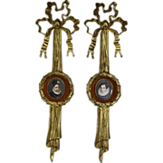 Pair of 19th c Continental Miniature Oil Painting Portraits in Bronze Dore Ribbon & Wreath