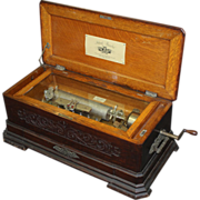 Late 19th c Swiss Cylinder Music Box by Mermod Freres, Ideal Piccolo Model