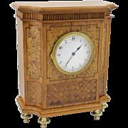 19th c German Marquetry Mantel or Shelf Clock