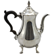 20th c J. Wagner & Son Sterling Silver Teapot with Wooden Handle