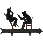 SOLD 19th c Folk Art Painted Wrought Iron Directional Sign with Two Men in Conversation