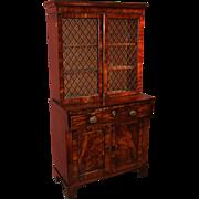 English Regency Mahogany & Ebony Secretary Desk & Bookcase