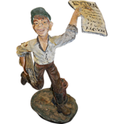 Early 20th c Composition Newspaper Delivery Boy Advertising Figural Store Display