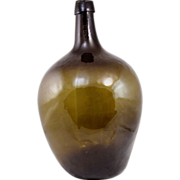 19th c Amber / Olive Green Blown Molded Ovoid Demijohn