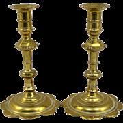 Pair of 18th c Queen Anne Petal Base Brass Candlesticks