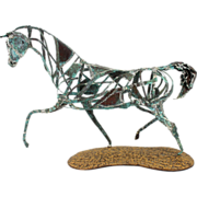 Danny L. Dancer Hammered Copper Sculpture of a Trotting Horse