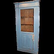 Mid 18th c Massachusetts Barrel Back Cupboard in Blue Paint