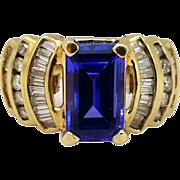 14 Karat Gold Tanzanite & Diamond Woman's Ring