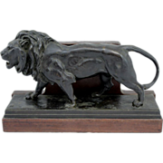 Antoine-Louis Barye Bronze of a Lion, F.Barbedienne Foundry Mark